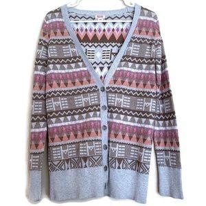 Mossimo Aztec tribal print button cardigan sweater